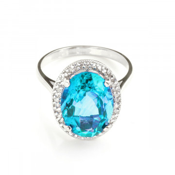 Blue Topaz Halo Ring 7.58 ctw in 9ct White Gold
