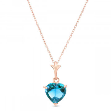 Blue Topaz Heart Pendant Necklace 1.15 ct in 9ct Rose Gold