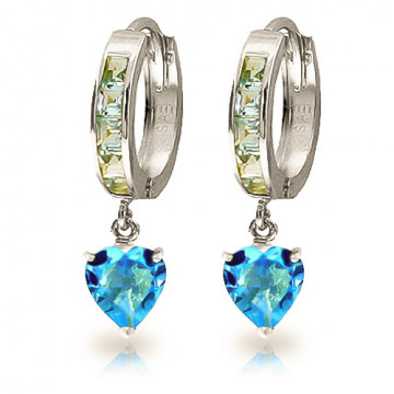 Blue Topaz Huggie Earrings 4.1 ctw in 9ct White Gold