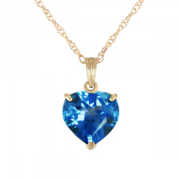 Blue Topaz Large Heart Pendant Necklace 6.3 ct in 9ct Gold