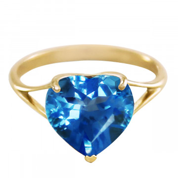 Blue Topaz Large Heart Ring 6.3 ct in 9ct Gold