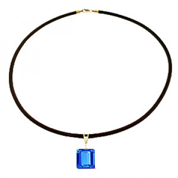 Blue Topaz Leather Pendant Necklace 6.51 ctw in 9ct Gold