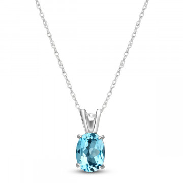 Blue Topaz Oval Pendant Necklace 0.85 ct in 9ct White Gold