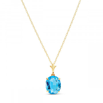 Blue Topaz Oval Pendant Necklace 3.12 ct in 9ct Gold
