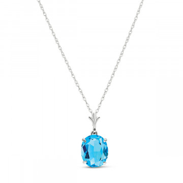 Blue Topaz Oval Pendant Necklace 3.12 ct in 9ct White Gold