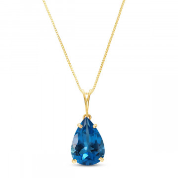 Blue Topaz Pear Drop Pendant Necklace 6.5 ct in 9ct Gold