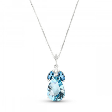Blue Topaz Pear Drop Pendant Necklace 6.5 ctw in 9ct White Gold