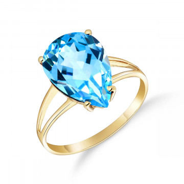 Blue Topaz Pear Drop Ring 5 ct in 9ct Gold