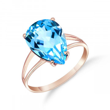 Blue Topaz Pear Drop Ring 5 ct in 9ct Rose Gold