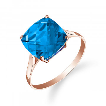 Blue Topaz Rococo Ring 3.6 ct in 9ct Rose Gold