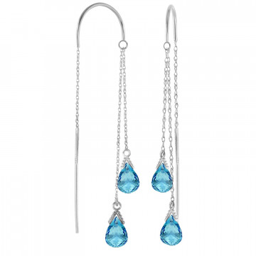 Blue Topaz Scintilla Earrings 2.5 ctw in 9ct White Gold
