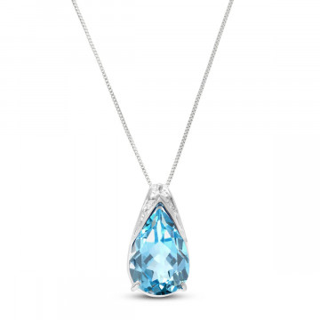 Blue Topaz Snowcap Pendant Necklace 6 ct in 9ct White Gold