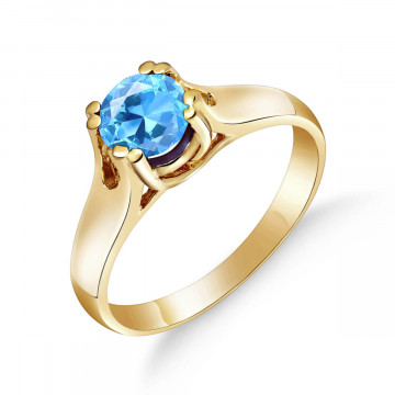 Blue Topaz Solitaire Ring 1.1 ct in 9ct Gold