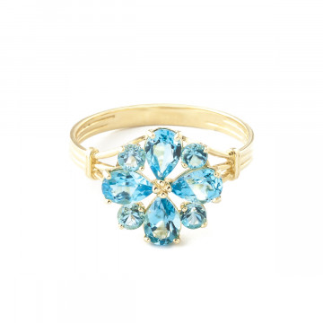 Blue Topaz Sunflower Cluster Ring 2.43 ctw in 9ct Gold