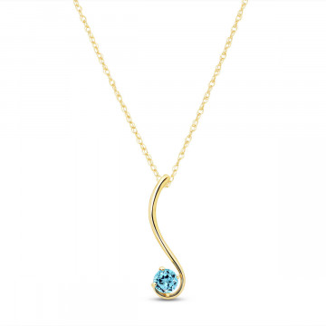 Blue Topaz Swish Pendant Necklace 0.55 ct in 9ct Gold