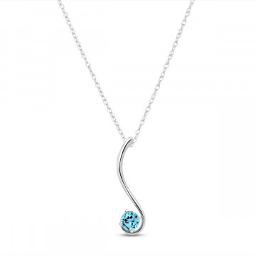 Blue Topaz Swish Pendant Necklace 0.55 ct in 9ct White Gold