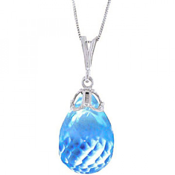 Blue Topaz Tiara Pendant Necklace 10.25 ct in 9ct White Gold