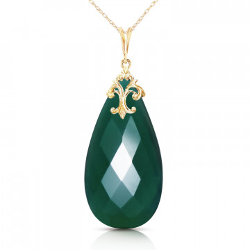 Briolette Cut Chalcedony Pendant Necklace 17 ct in 9ct Gold