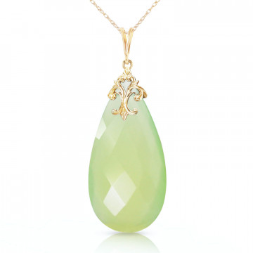 Briolette Cut Chalcedony Pendant Necklace 18.2 ct in 9ct Gold