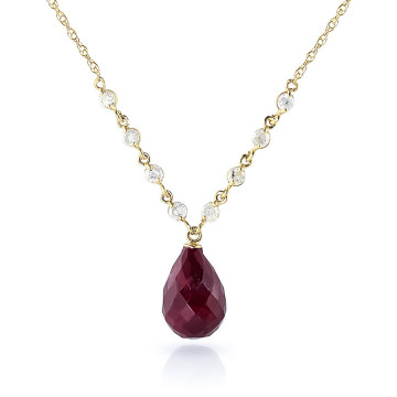 Briolette Cut Ruby Pendant Necklace 15.6 ctw in 9ct Gold