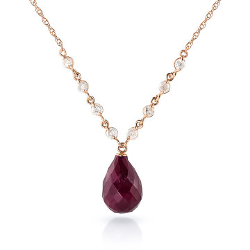 Briolette Cut Ruby Pendant Necklace 15.6 ctw in 9ct Rose Gold
