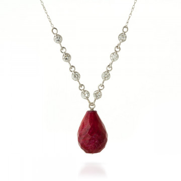 Briolette Cut Ruby Pendant Necklace 15.6 ctw in 9ct White Gold