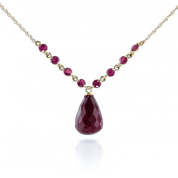 Briolette Cut Ruby Pendant Necklace 15.8 ctw in 9ct Gold