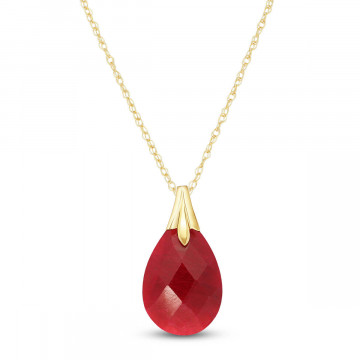 Briolette Cut Ruby Pendant Necklace 4 ct in 9ct Gold