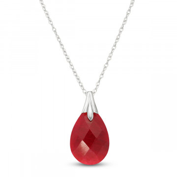 Briolette Cut Ruby Pendant Necklace 4 ct in 9ct White Gold