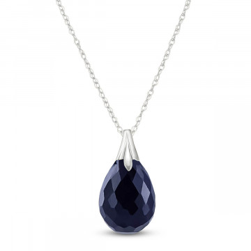 Briolette Cut Sapphire Pendant Necklace 4 ct in 9ct White Gold