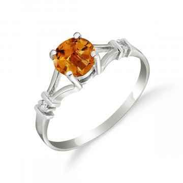 Citrine & Diamond Aspire Ring in 9ct White Gold