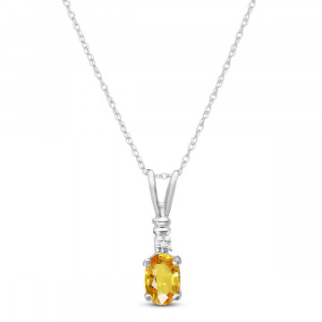 Citrine & Diamond Cap Oval Pendant Necklace in 9ct White Gold