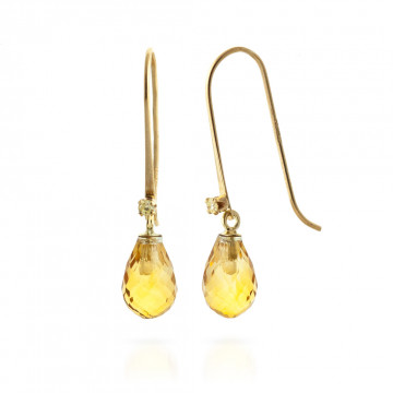 Citrine & Diamond Drop Earrings in 9ct Gold