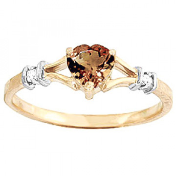 Citrine & Diamond Heart Ring in 9ct Gold