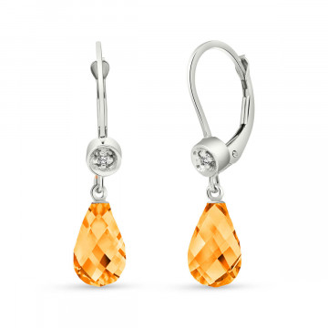 Citrine & Diamond Illusion Drop Earrings in 9ct White Gold