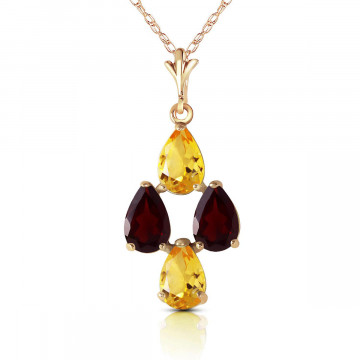 Citrine & Garnet Chandelier Pendant Necklace in 9ct Gold