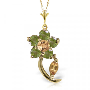 Citrine & Peridot Flower Petal Pendant Necklace in 9ct Gold