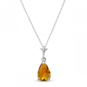 Citrine Belle Pendant Necklace 1.5 ct in 9ct White Gold