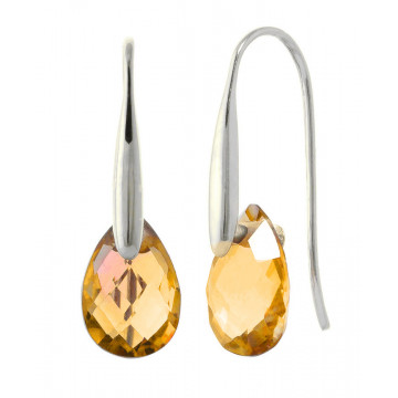 Citrine Briolette Drop Earrings 6 ctw in 9ct White Gold
