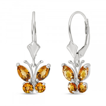 Citrine Butterfly Drop Earrings 1.24 ctw in 9ct White Gold