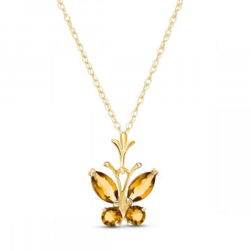 Citrine Butterfly Pendant Necklace 0.6 ctw in 9ct Gold
