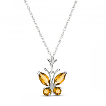 Citrine Butterfly Pendant Necklace 0.6 ctw in 9ct White Gold