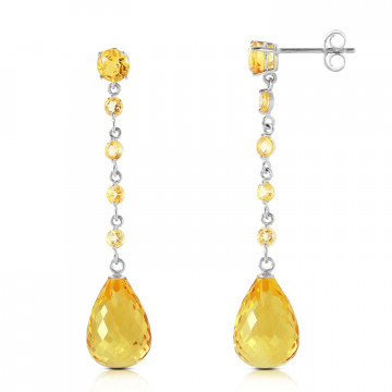 Citrine by the Yard Drop Earrings 23 ctw in 9ct White Gold