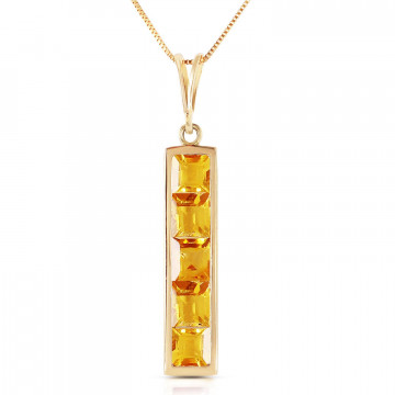 Citrine Channel Set Pendant Necklace 2.25 ctw in 9ct Gold