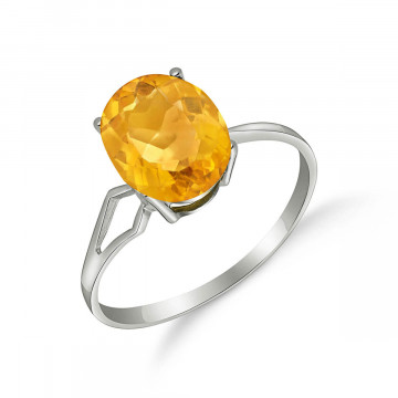 Citrine Claw Set Ring 2.2 ct in 9ct White Gold