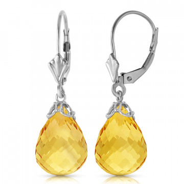 Citrine Crown Drop Earrings 14 ctw in 9ct White Gold