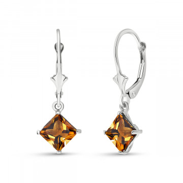 Citrine Drop Earrings 3.2 ctw in 9ct White Gold
