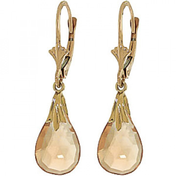 Citrine Droplet Earrings 6 ctw in 9ct Gold