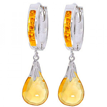 Citrine Droplet Huggie Earrings 6.85 ctw in 9ct White Gold