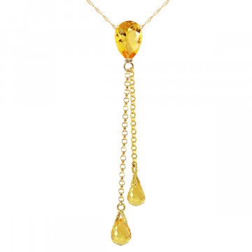 Citrine Droplet Pendant Necklace 3.75 ctw in 9ct Gold